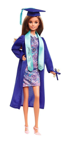 muñeca barbie graduación brown hair   2018 mattel colección
