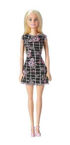 Muñeca Barbie Importada Vestido Negro Y Rosa Y Zapatos Taco