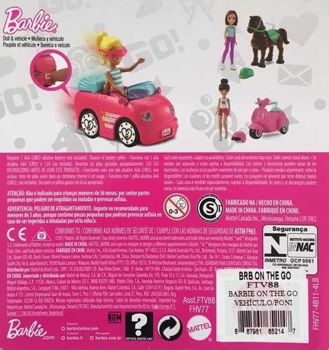 muñeca barbie on the go vehículo mattel
