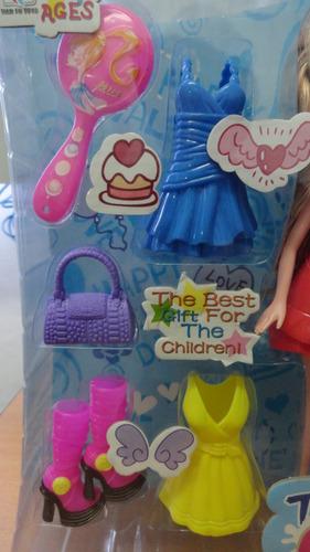muñeca barbie vestidos cartera y zapatos