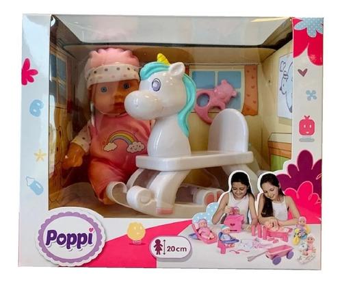 muñeca bebe - bebote con unicornio de 20cm - poppi - m.c.a.
