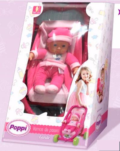 muñeca bebe bebote poppi cande vamos de paseo babymovil 1302