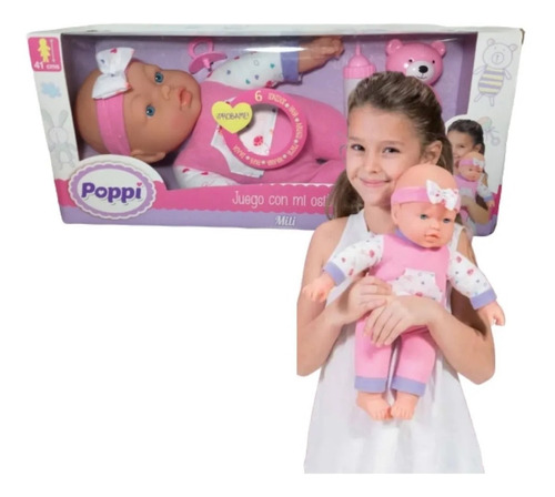 muñeca bebe bebote poppi juego con mi osito babymovil 16023