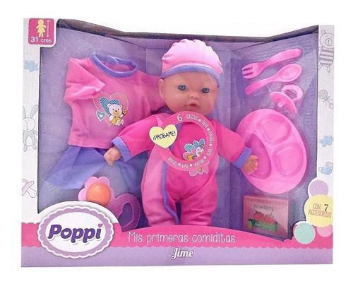 muñeca bebe bebote poppi mis primeras comiditas 16013