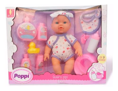 muñeca bebe bebote poppi quiero pipi con accesorios 16020