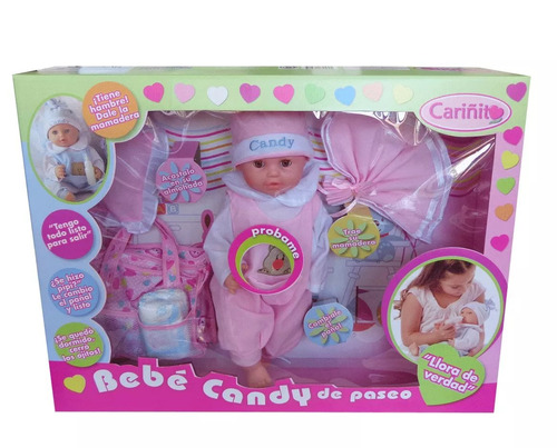 muñeca bebe candy de paseo cariñito