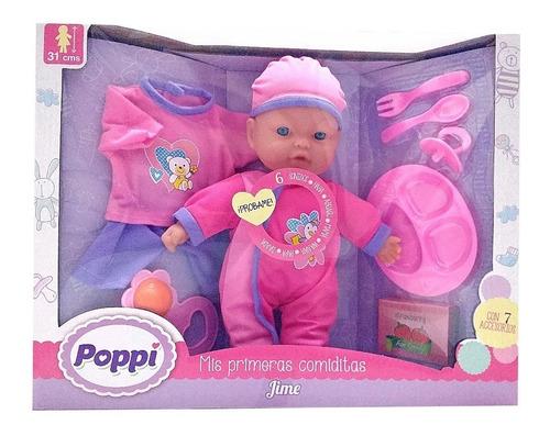muñeca bebe poppi bebote mis primeras comiditas sonidos 31cm