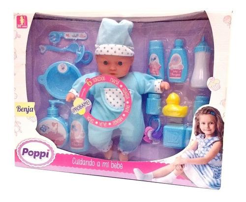 muñeca bebe poppi - cuidando a mi bebé con accesorios