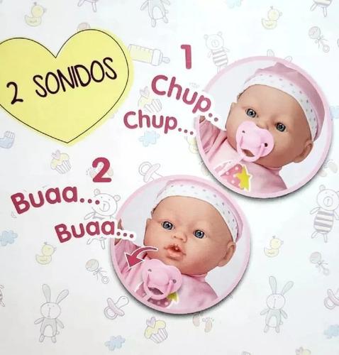 muñeca bebe poppi mi primer chupete c/ sonido babymovil 1708