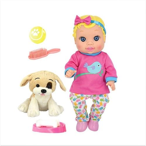 muñeca bebe y perro c/ sonido simil baby alive 5841 bigshop