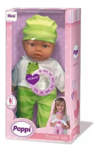 muñeca bebota mi primer bebe 38cm con gorrito y body poppi
