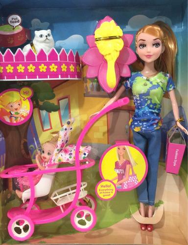 muñeca con bebe y carriola de juguete niña regalo barbie