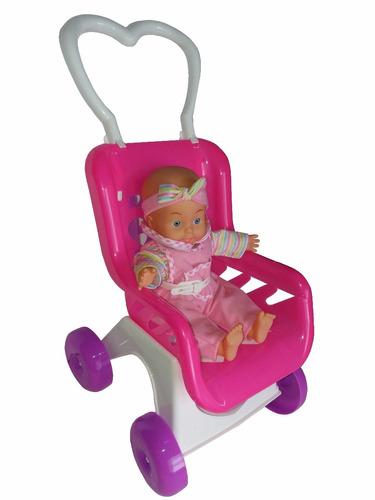 muñeca con coche y sonido habla rie y  llora