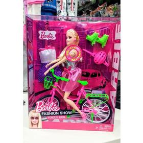 Muñeca De Barbie Articulada 30cm Bicicleta Y Rollers