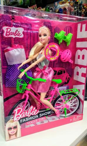 muñeca de barbie articulada 30cm bicicleta y rollers sonido