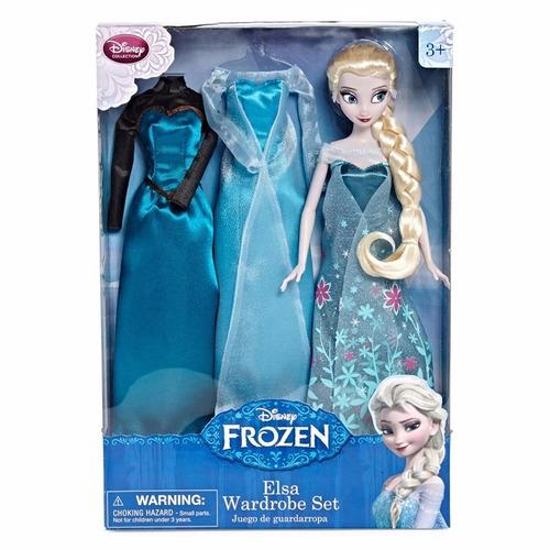 muñeca elsa de frozen set de guardarropa 100% disney