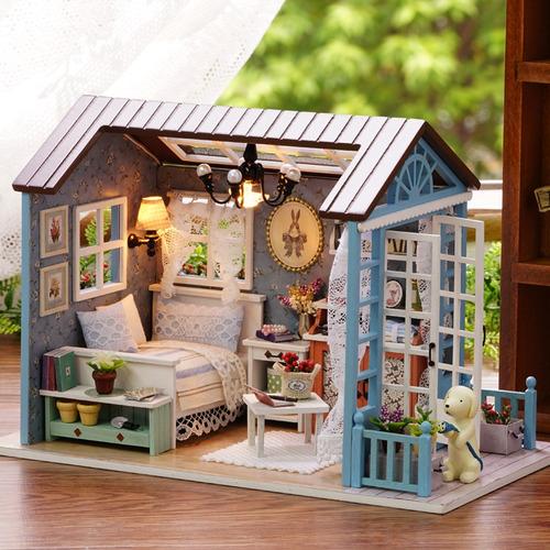 muñeca en miniatura casa de madera studio kit con luz led m