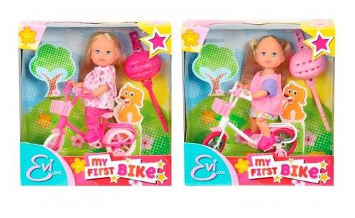 muñeca evi mi primer bicicleta con accesorios toy feliz