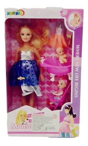 muñeca flaca embarazada con bebé y accesorios, juguete niña