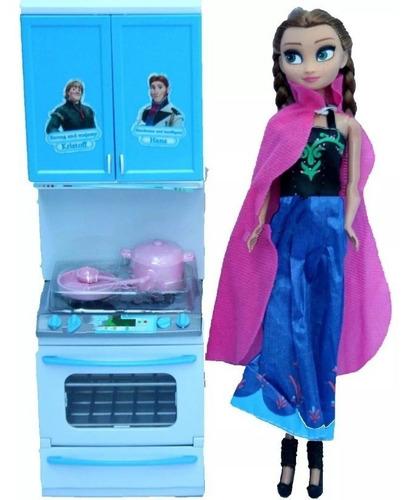 muñeca frozen anna + cocina luz y sonido juguete niña barbie