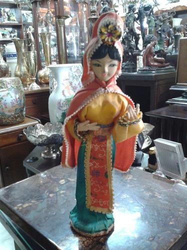 muñeca japonesa de trapo antigua de colección