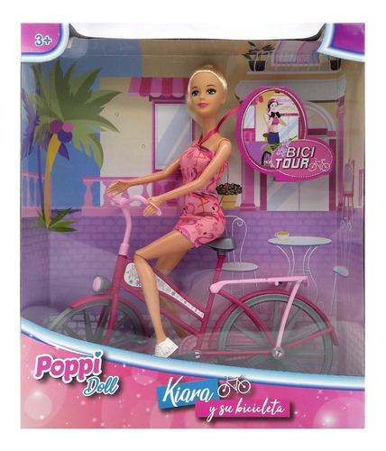 muñeca kiara con su bicicleta de paseo 28cm poppi cuotas