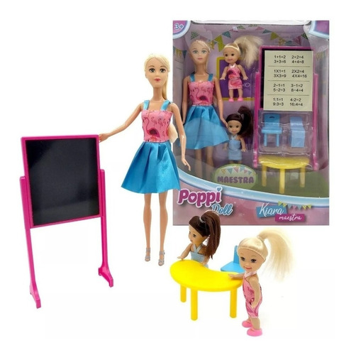 muñeca kiara maestra con 2 alumnas b182 educando full