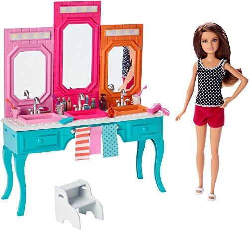 muñeca la hermana barbie original skipper + tocador baño bar