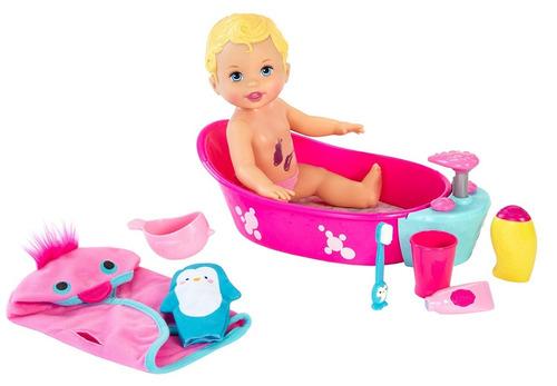 muñeca little mommy bubbly bathtime baño de espumas