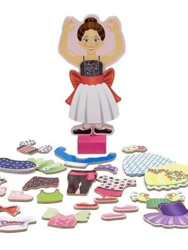 muñeca magnética de madera nina bailarina  melissa and doug