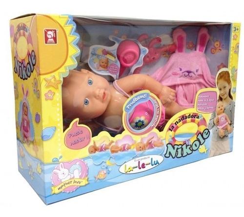 muñeca nadadora  nikole que nada lalelu original new bigshop