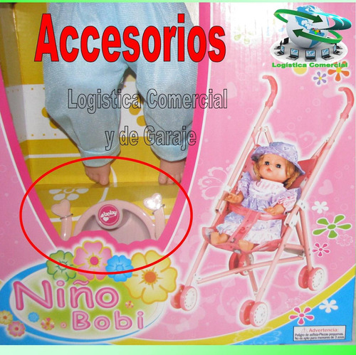 muñeca niño bobi para niñas + coche + sonido juguete