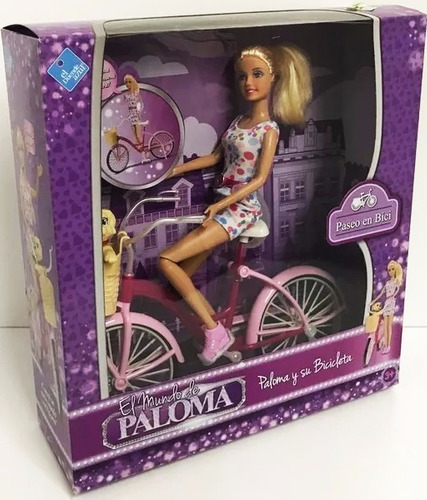 muñeca paloma de paseo con bicicleta y perro nuevo bigshop