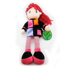 muñeca pepona perlita soft de tela con cara bordada 35cm