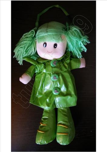 muñeca pepona soft con colitas de lana - día del niño