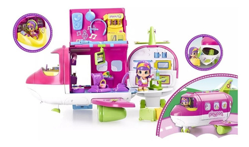 muñeca pinypon avion juguete para nenas accesorios+ 1 figura