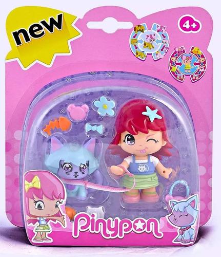 muñeca pinypon de paseo con mascota + accesorios pinypon
