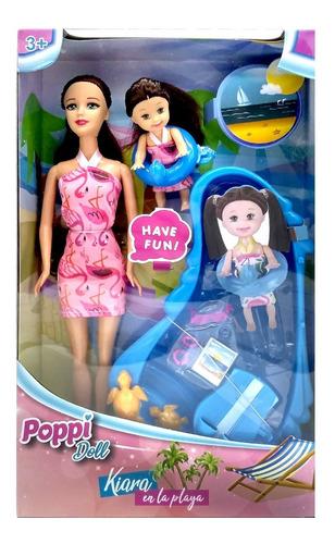 muñeca poppi kiara en la playa con bebe y accesorios