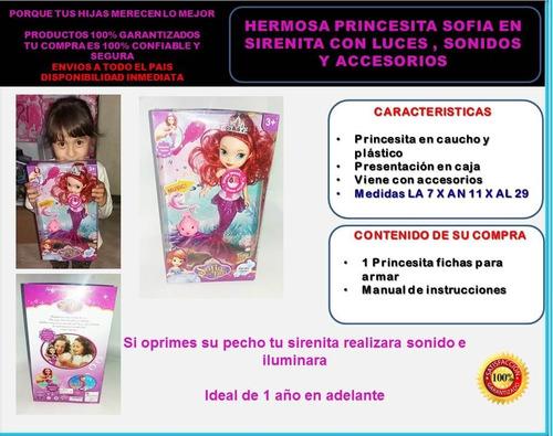 muñeca princesa sofia de sirenita con accesorios
