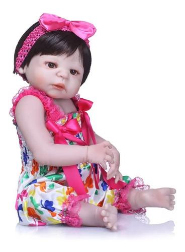 muñeca reborn cuerpo silicona + chupete magnético + mamadera