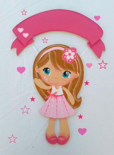 muñeca rosa! cartel nacimiento bienvenida! deco infantil