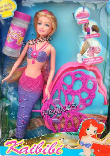 muñeca sirena burbujas mermaid barbie juguete niña fabans