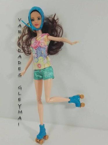 muñeca soy luna + patines+casco y canta juguete niña barbie
