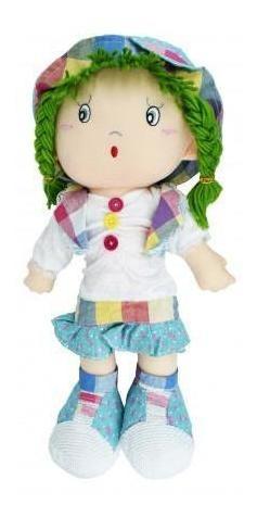 muñeca trapo 44cm c capelina trenzas y vestido dif diseños