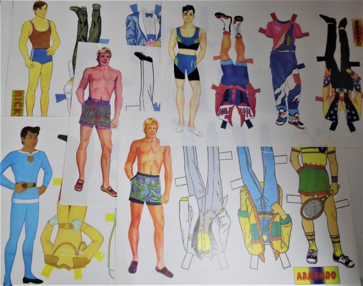 Muñecas De Papel 5 Modelos De Hombres Para Recortar Y Vestir