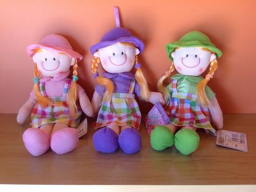 muñecas de tela hermosas!! pack x 6 surtidas oportunidad!!!