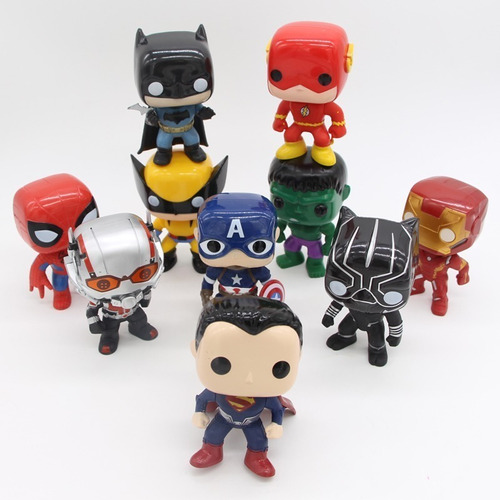 muñeco articulado cabezon spiderman iron man pantera hulk
