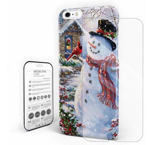 muñeco de nieve de navidad con los pájaros teléfono caja