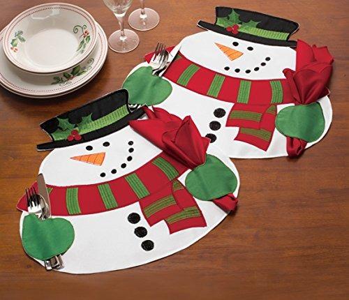 muñeco de nieve de navidad servilleta holding manteles, 4pc