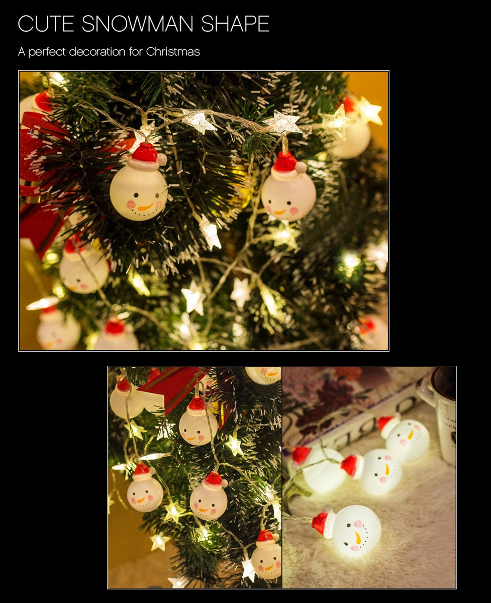 607a3ddb932 Muñeco De Nieve Luz Cadena Navidad Lamp 1.2m 10 Leds Para P ...